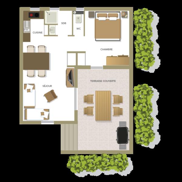 Plan f2 villa Santa Giulia de 2 à 4 personnes