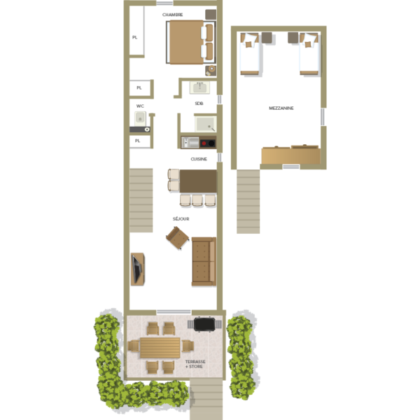 Plan f2 villa de 4 à 5 personnes à Santa Giulia