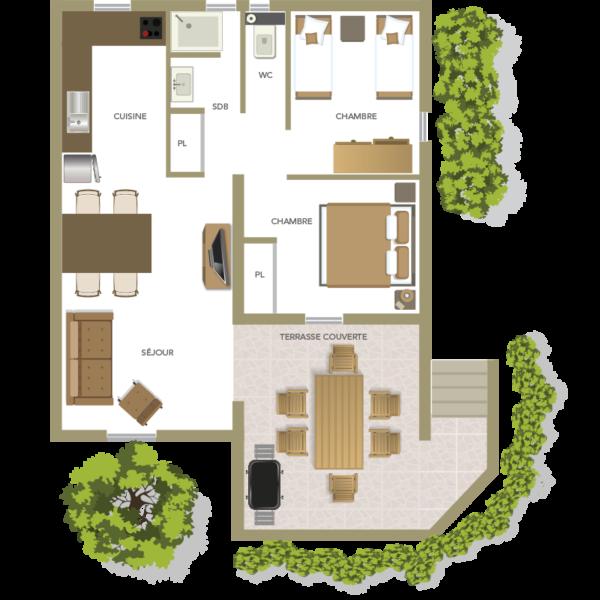 Plan f3 villa de 4 à 6 personnes à Santa Giulia